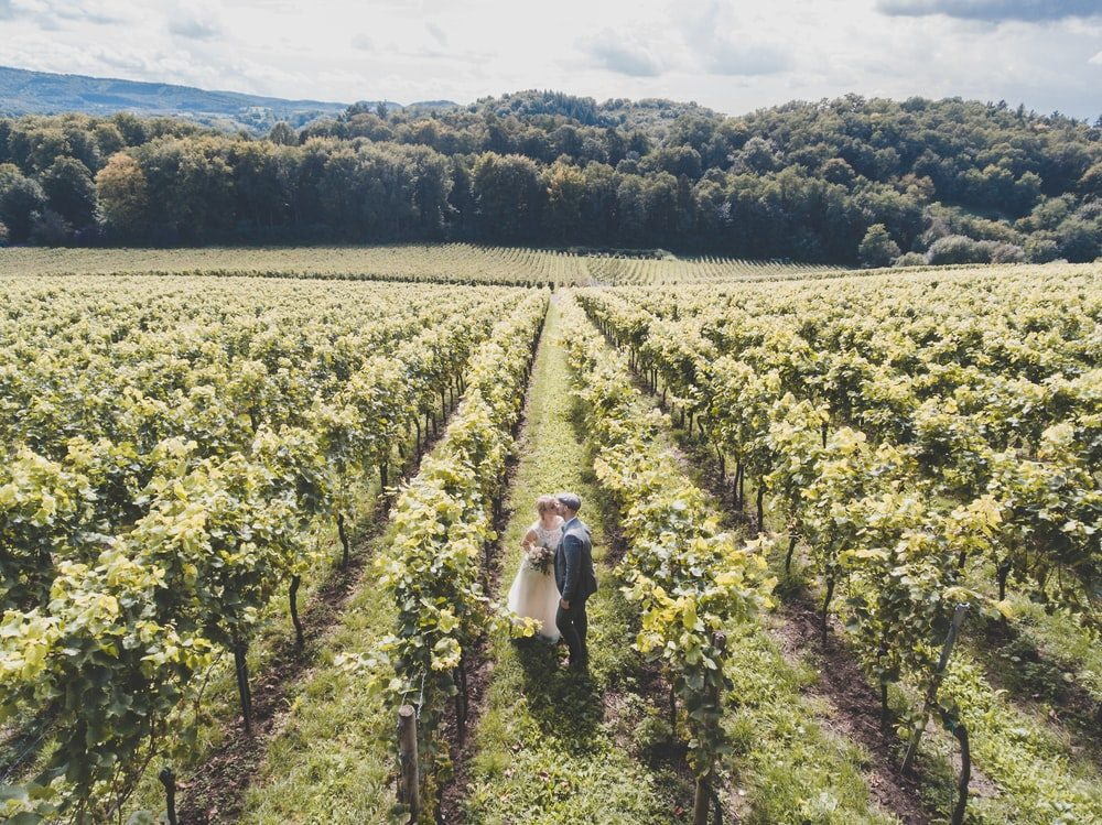 a drone shot of a couple in a field